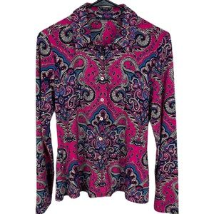 Tommy Hilfiger jersey pink paisley buttoned blouse